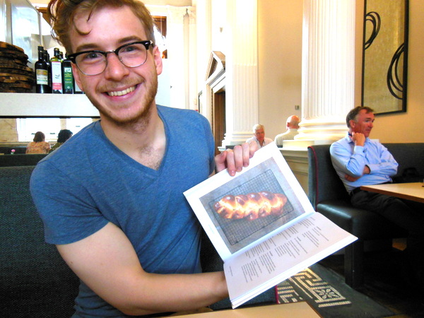James showing the first copy of Brilliant Bread