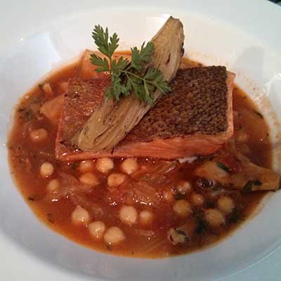 Sea trout with saffron braised squid, fennel and chickpeas. I want ...