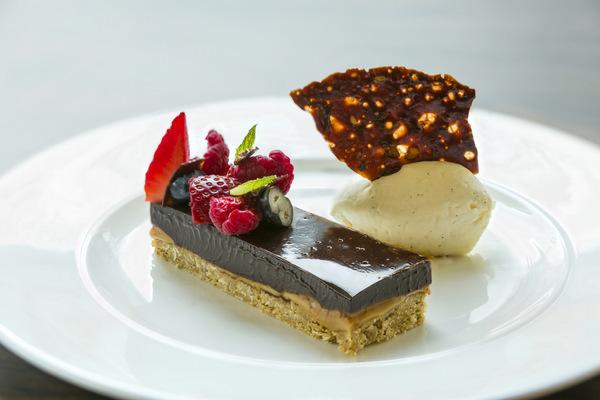 Salted caramel and dark chocolate bar, vanilla bean ice cream. Brendan MacNeill